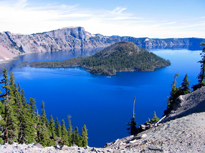 one of the bluest,clearest lakes in the world-crater lake is also one of the deepest. this is a color image